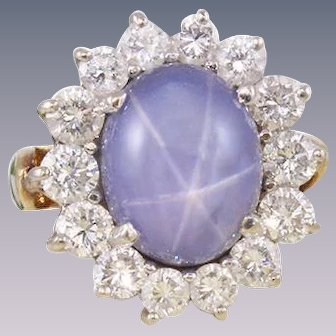18k Diamond Star Sapphire Ring