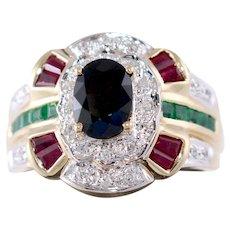 Sapphire Diamond Ruby Emerald Ring 2.00 Carats 14k Yellow Gold Size 6
