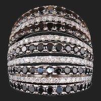 18K 5.50 Carat White and Black Diamond Designer Ring