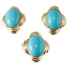 Turquoise 14k Gold Ring & Earrings Set