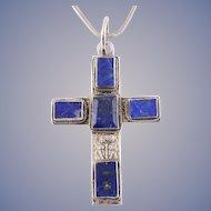 Blue Lapis Lazuli Cross Pendant Necklace