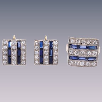 18k Gold Sapphire, Diamond Mid Century Earrings Ring Set