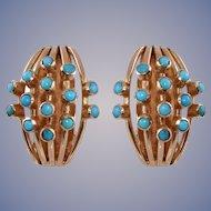 Turquoise 14k Rose Gold Earrings