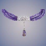 Diamond Amethyst Choker Vintage 14k Gold Necklace