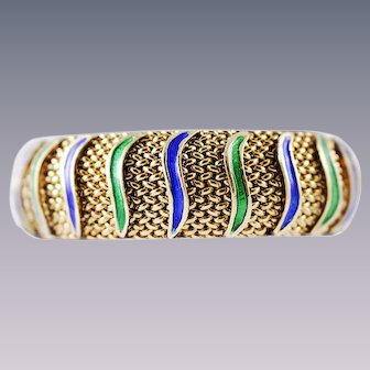 14k Gold Bangle Bracelet Woven Gold Cuff Green Blue Enamel