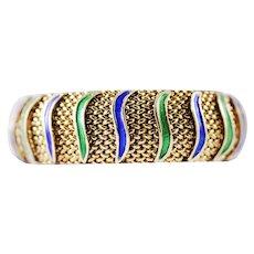 Green Blue Enamel Woven Gold Cuff Bracelet. 14k Gold Vintage Bangle Bracelet.