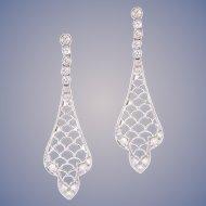 European Cut Diamond Platinum Dangle Earrings