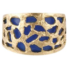 Vintage Jewelry From Italy. Wide 14k Yellow Gold Nugget Blue Lucite Statement Ring.