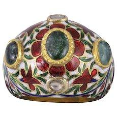 Diamond Emerald Aquamarine Enamel 18k Gold Ring