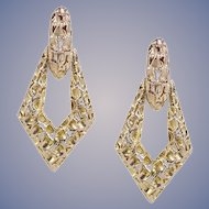 14k Gold Retro Dangle Earrings