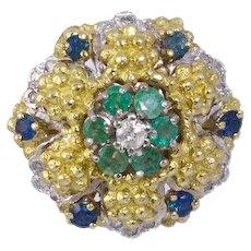 Diamond, Emerald, Sapphire Gemstone 18k Gold Ring