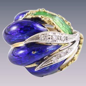 Vintage Bejeweled Botanical 18k Gold, Diamonds, Enamel Ring