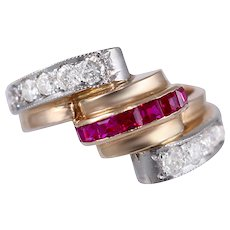 Art Deco Ruby, Diamond, Platinum & 14k Rose Gold Ring