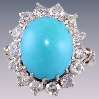Diamond Sleeping Beauty Turquoise Platinum Ring