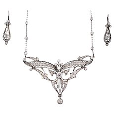 Edwardian Diamond Necklace, Earrings. 6.75 Carats Old European, Mine Cut Diamonds.