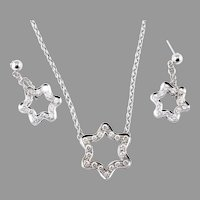 14k White Gold 4.20 Carat Round Diamond Pendant Necklace And Earrings Set