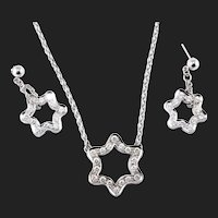 3.00 Carat Natural Diamond Necklace And Earrings, 14K White Gold