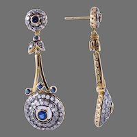 Sapphire & Diamond Edwardian Dangle Earrings.  18k Gold, Pendulum Style.
