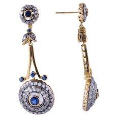 Sapphire & Diamond 18k Gold Edwardian Pendulum Style Earrings