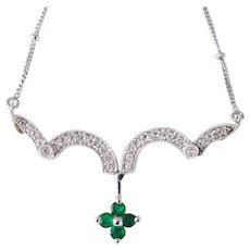 Emerald & Diamond 14k Gold Pendant Necklace