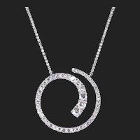 18k White Gold Rose Cut Diamond Pendant Necklace