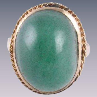 Persian Jade Cabochon Mid Century 14k Rose Gold Ring