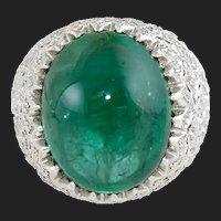 18K TCW Natural Cabochon Emerald Diamond Ring 18K White Gold Size 8