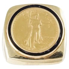 22K U.S. Mint Walking LIberty American Gold Earle Bullion Coin 14k Yellow Gold Ring 9.75