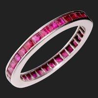 Ruby Eternity Band Wedding Ring 18K White Gold