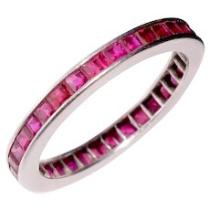 Ruby Eternity Band Wedding Ring 18K White Gold