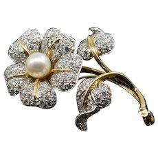 Tiffany & Co. Diamond Pearl Flower Pin Brooch Signed