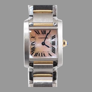 Cartier Tank Francaise 2384 18K Rose Gold Stainless Steel MOP Ladies Watch Box Booklet