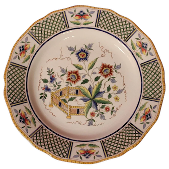 19th Century French Ceramic Handpainted Plate by Sarreguemines