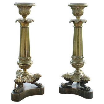 19th Century French Gilt Bronze Candleholders Circa 1820