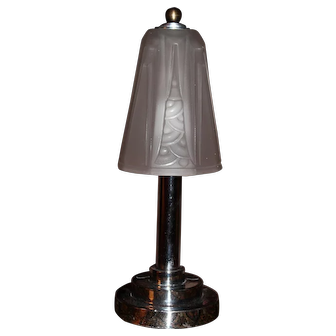 French Art Deco Lamp with a Frosted Glass Shade Signed Schneider