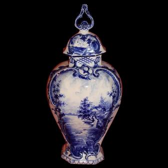 French Handpainted Ceramic Covered Urn