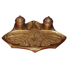 French Art Nouveau Gilt Bronze Inkwell