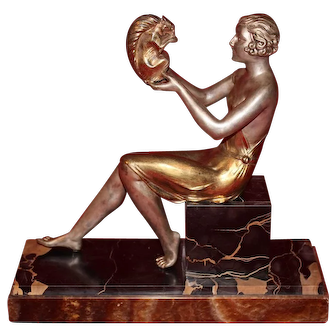 French Art Deco Statue of a Woman and a Squirrel