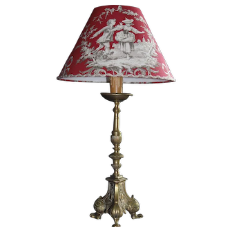19th Century Gilt Bronze Lamp with a Toile de Jouy Shade