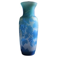French Turquoise Blue and White Cameo Glass Vase Signed by the Maker