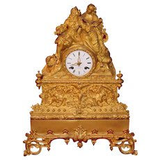 19th Century French Gilt Bronze Mantel Clock Circa 1820