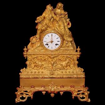 19th Century French Gilt Bronze Mantel Clock Circa 1820