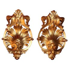 Early 20th Century French Gilt Wood Wall Ornaments Covered in Gold Leaf