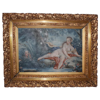 19th Century French Oil Painting of Venus Bathing and Her Secret Admirer