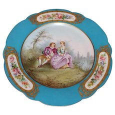 French Sèvres Handpainted Plate Bearing the Château des Tuileries Mark Dated 1837