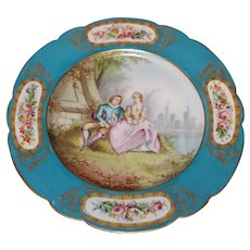 French Sèvres Handpainted Plate Dated 1837 and One of a Pair