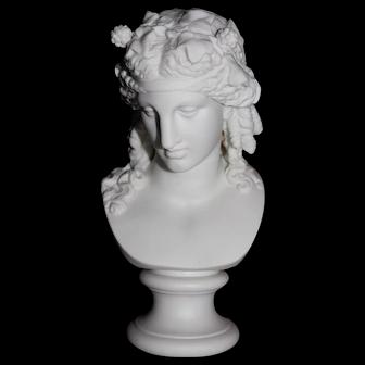 19th Century Parian Bust of Apollo Mounted on a Circular Base