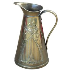 English Art Nouveau Solid Brass Pitcher Signed Sankey and Sons