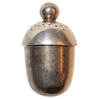 18th Century Coin Silver Acorn Shaped Pomander Scent Box
