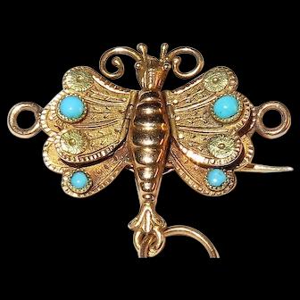 Georgian - French 18k Gold Butterfly Form Vinaigrette Brooch Pendant